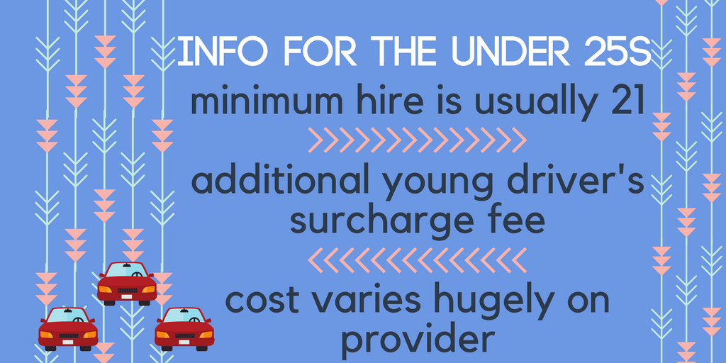 Car hire information for the under 25s