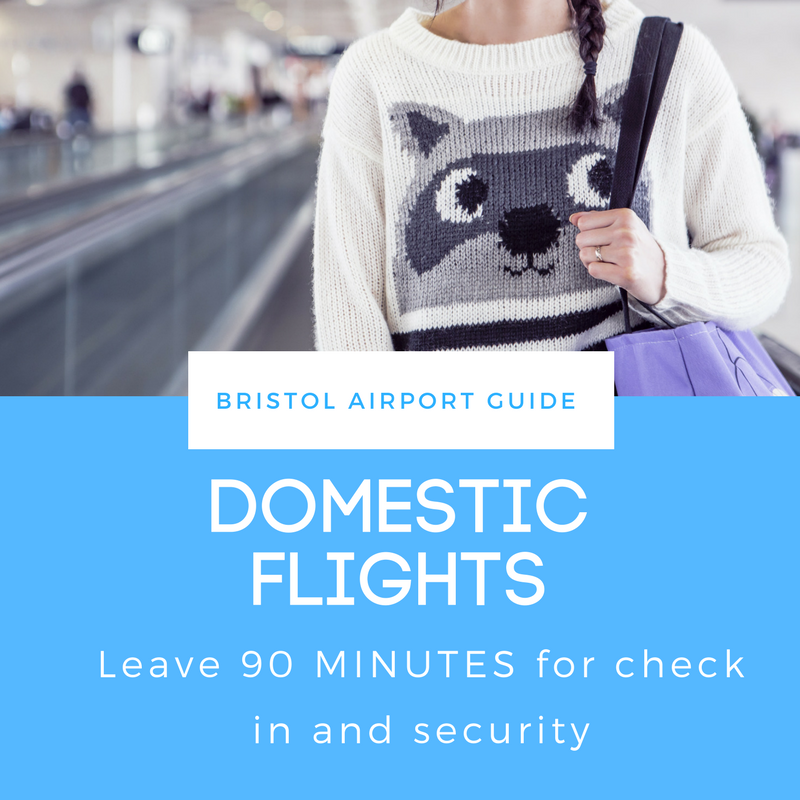 Bristol Airport recommends leaving 90 minutes before taking a domestic departure flight