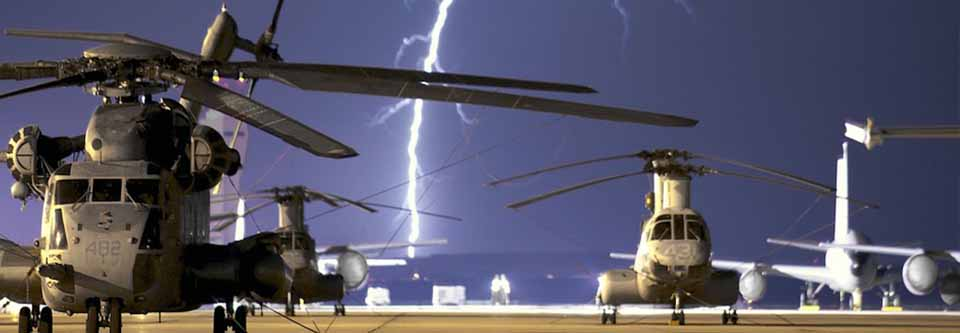 Thunder and lightning with jets and helicopters at airport